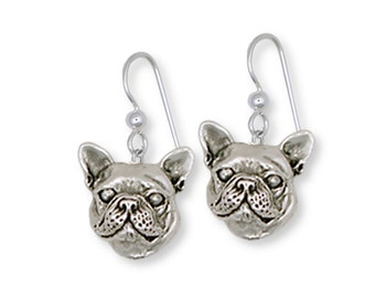 French Bulldog Earrings Handmade Sterling Silver Dog Jewelry FR11-E