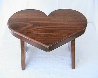 Heart Shaped Pine Footstool, Child's Stool..Entry Way, Hallway, Living room Decor