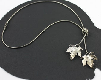 Silver Double Leaf Necklace