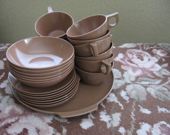Vintage Brown Melmac Dishes Melamine Dishes Melmac Cups Bowls Plates Retro Melmac Dishes Melmac Serving PlateFrom Made Of Flaws