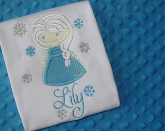 Little Elsa Appliqued Shirt- Personalized