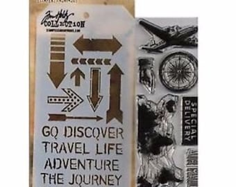 Tim Holtz Stamps and Stencils Set - AIR TRAVEL Stampers anonymous THMM105  1-cc02