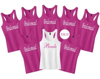 Bridesmaid Shirts With Date on Back.Set of 8 9 Bridesmaid Shirts.Bride Tank Top.Bridesmaid Tank Tops.Bachelorette Party Shirts.Wedding Tanks