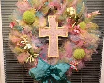 15' Easter tulle with cross wreath