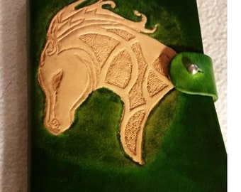 Leather hand carved stamped journal