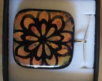 Orange Painted Flower Fused Glass Pendant/Necklace