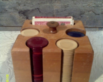 Vintage Wooden Poker Caddy with Chips, Gambling Games