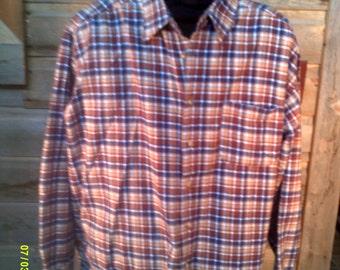 Men's Vintage Brown Plaid Flannel Shirt, size Xl, by Blue Sky, Mens Flannel Shirt Xl, Mens Winter Shirts, Flannel Shirts Xl, Mens Shirts Xl