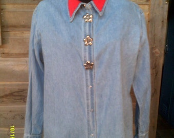 Woman's Vintage Faded Denim Snap Blouse, size Med. 8 to 12, by Streets Ahead, Womans Denim Shirt, Womens Denim Blouse, Denim Blouses 10