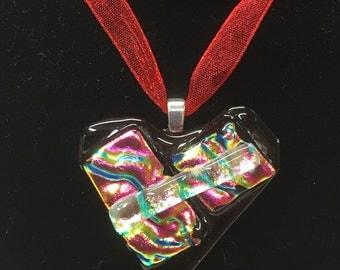 Heart Shaped Dichoric Fused Glass Pendant