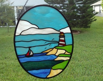 Stained Glass Lighthouse and Sailboat,Seaside Scene,Handmade Gift,Nautical Decor,Father's Day Gift,Gift for Him,Gift for Mom,Birthday Gift