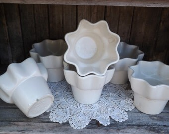 Vintage Hull Planters/Set of Six/Imperial F1 USA/Indoor Gardening/Mid Century Home Decor/Ruffled Ivory Planters