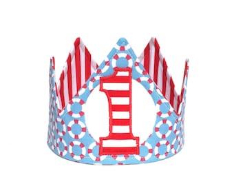 nautical first birthday crown nautical birthday hat nautical birthday outfit nautical photo prop gift