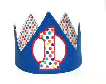 First birthday hat, 1st birthday crown, first birthday crown, blue ball birthday