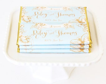 Gold Floral Rustic Personalized Candy Bar Wrapper. Choice of Gold, Silver, Gold Copper, Copper or Black Foil included.