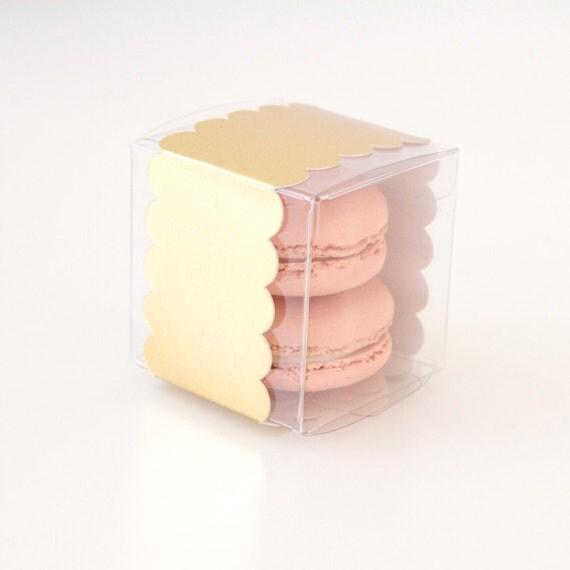 Gold Foil Scallop Favor Box - 25 Pieces