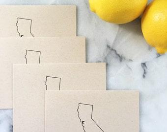 Golden State Outline in Black, Set of 4 Cards with Envelopes
