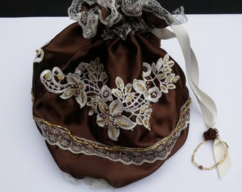 Chocolate ivory handmade steampunk bag, steampunk purse, drawstring bag, Wedding bag, Regency purse, beaded wedding purse, reticule