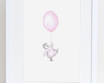 Floating Rabbit nursery art print drawing-illustration