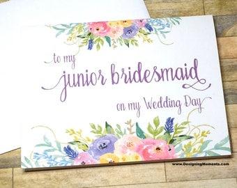 Junior Bridesmaid Card - To my Jr Bridesmaid on my Wedding Day Card - Bridal Party Thank You - Wedding Thank You Card - Maid of Honor
