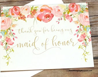Maid of Honor Thank You Card - Vintage Thank You For Being My Maid of Honor Card - Wedding Thank You Wedding Card -Maid of Honor - HEIRLOOM