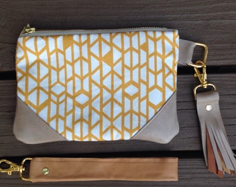 Mustard geometric triangles Wristlet / Wallet with taupe leather