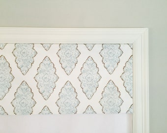 "Straight Valance.  Grey / Blue.  Premier Prints Monroe Snowy.  Custom Sizing Available Up To 54"" Wide."