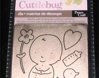 """Baby with Heart Flower Bottle and Duck 37-1160 Cuttlebug 3x3"""" Die"""