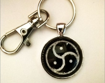 BDSM Silver & Black Emblem Key Chain/Fob