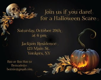 Adult Halloween Party Invitations - You Print Couples Halloween Invitation