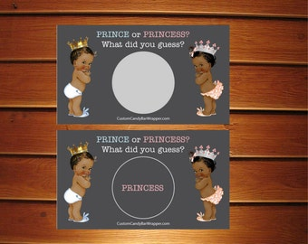 Set of 10 Prince or Princess? Gender Reveal Scratch Off Cards • Chalkboard Baby Shower • African American