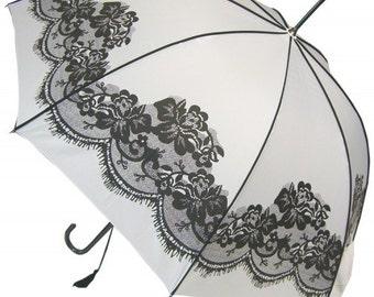 Boutique Vintage Lace Print Black & White Umbrella