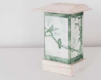 Table lamp - Bird - Linocut