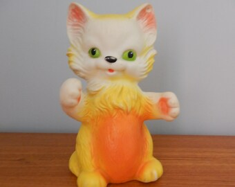 Vintage Rubber Squeak Toy Kitten or Cat by Delacoste - Made in France - 1960s