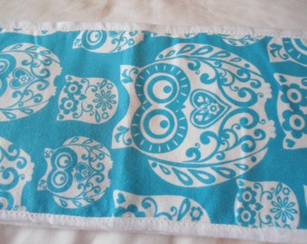 Burrp Cloth with white Owls on blue back ground