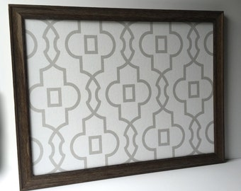 Magnetic bulletin board, EX LG barn wood frame, sophisticated rustic decor, office decor, magnet board, grey and white geometric fabric