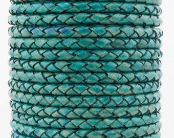 Turquoise Natural Dye Genuine Round Bolo Braided Leather Cord 4 mm 1 Yard