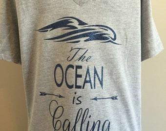 The ocean is calling, womens or girls, tank, short or long sleeve tee