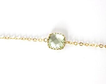 Chrysolite Bracelet Chrysolite Green bracelet. Green Stone Bracelet Mint bridesmaids bracelet Green glass bracelet Dainty Mint Jewelry