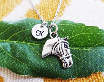 HORSE NECKLACE  - personalized with initial charm - choice of chains