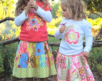Clearance - The Patchwork Skirt and Tshirt - No. 8 - Sizes 6 mos to 10 years.