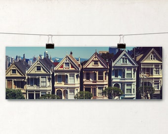 Painted Ladies Panoramic Photo, Architectural Photography, San Francisco