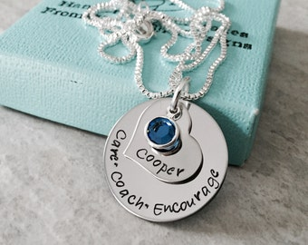Personalized necklace care coach encourage hand stamped necklace encouragement gift doula midwife teacher gift