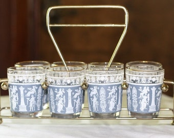 Vintage Shot Glasses Set of 8 Shot Glasses in Metal Holder.