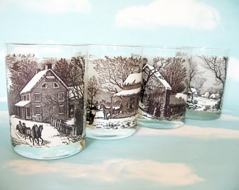 Currier and Ives Glasses, Bar Ware