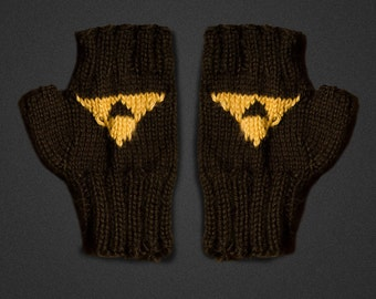 Handknit Legend of Zelda Triforce Fingerless Gloves