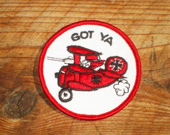 Vintage 70s Red Baron Got Ya Snoopy Sew-On Patch