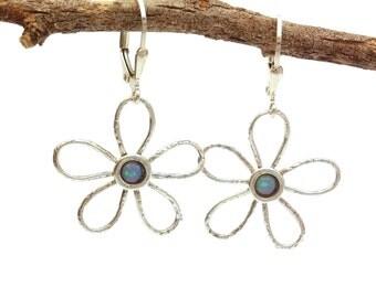 Silver earrings.Flower earrings. Opal earrings. Flower jewelry. Present for teens. Gift for girls. Small flower earring. Hollow flower. love
