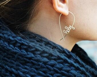 Name Hoops Earrings, Custom Bridesmaids Earrings, Name Fish Earrings, Open Hoops Earring, Rose Gold Bridesmaids Earrings, Personalised Gifts
