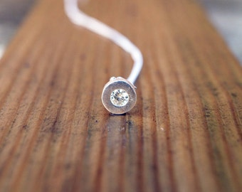 Silver moissanite slider necklace; moissanite solitaire necklace